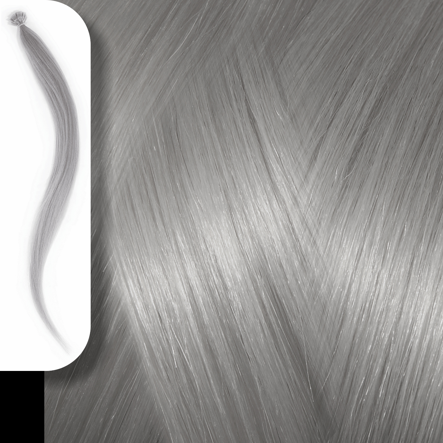 KERATIN HUMAN HAIR EXTENSIONS GREY-50cm
